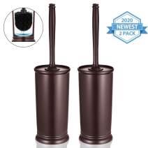 Homemaxs Toilet Brush and Holder 2 Pack 【2020 Upgraded】 Deep Cleaning Toilet Bowl Brush Set Ergonomic, Sturdy Bathroom Accessories Plastic