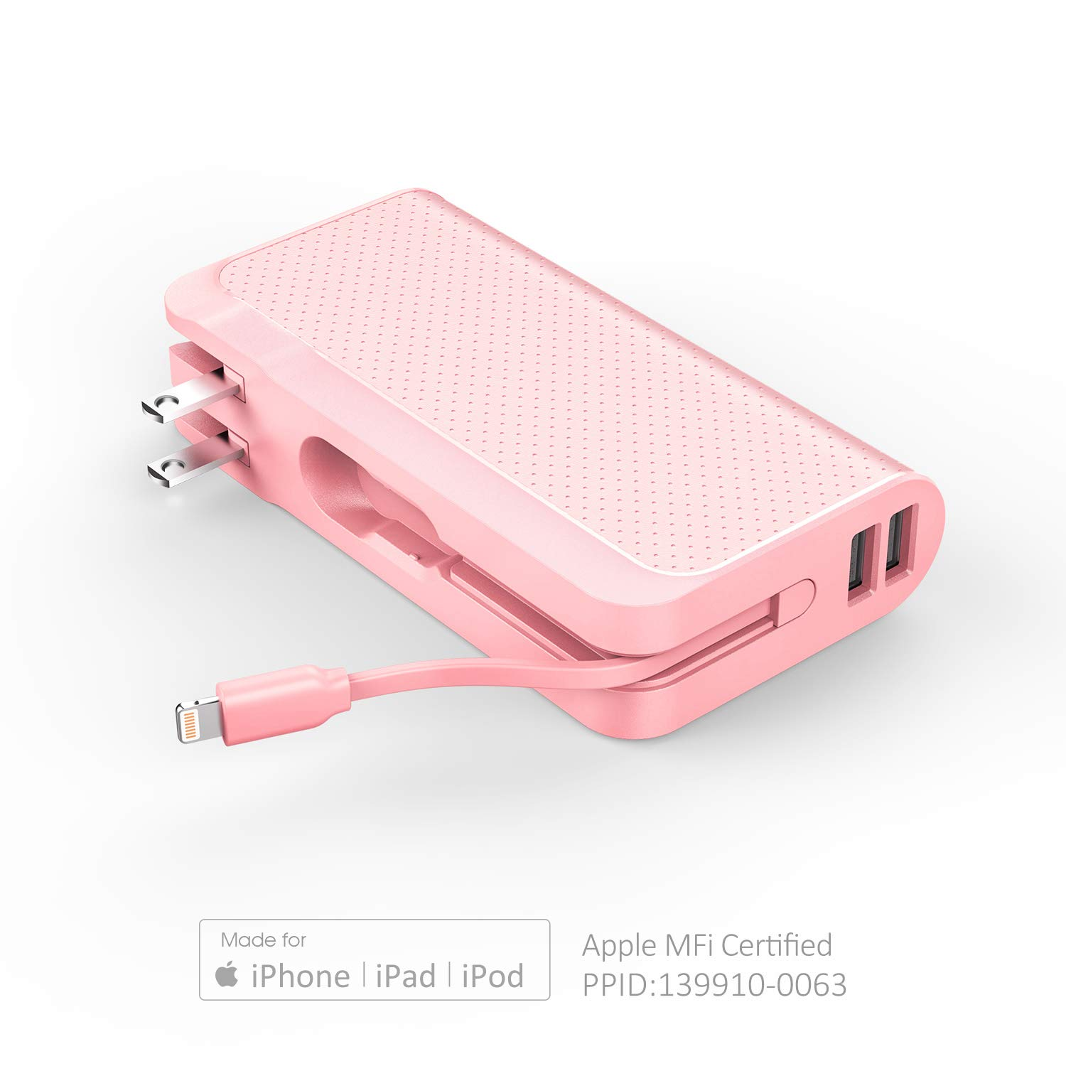 Luxtude Design-for-Trave 10000mAh 3-in-1 Portable Charger【Foldable Wall Plug, Apple Certified Lightning Cable, Dual USB Output】Power Bank for iPhone, iPad and Android (Adapter Converter Optional) Pink