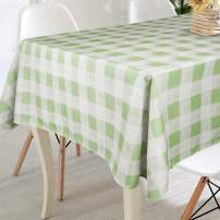 VCVCOO Spill Proof Cloth Checkered Tablecloths for Rectangle Tables,Stain Resistant Premium Polyester Table Cover Green and White Plaid Tablecloths for Restaurants, Picnics, Bistros 60 by 84 Inch