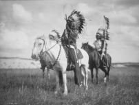 Sioux Indian Chiefs on Horseback - (Edward Curtis c. 1905) - Vintage Photograph (16x24 Giclee Gallery Print, Wall Decor Travel Poster)