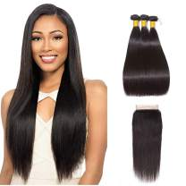 MS LOVE 9A Brazilian Straight Hair 3 Bundles with Closure free part(14 16 18 +12closure) 100% Unprocessed Virgin Human Hair Bundles with HD Lace Closure Straight Weave Natural Color