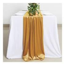 B-COOL Shiny Table Runner Gold Velvet Table Runner 29x120 Inch Textiles Table Runner Velvet Linen for Event