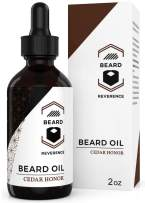 Cedarwood Beard Oil Leave-in Conditioner – All Natural Tea Tree & Jojoba & Argan Oils to Promote Growth – Large 2oz Size – Softens and Moisturizes Mustaches and Beards with Organic Cedarwood Scent