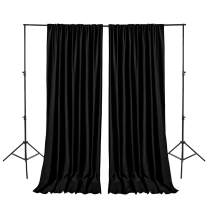 Hiasan Black Backdrop Curtains for Parties, Polyester Photography Backdrop Drapes for Family Gatherings, Wedding Decorations, 5ftx10ft, Set of 2 Panels