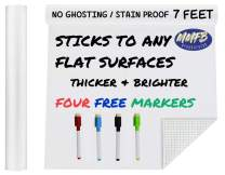 """Extra Large Thicker Whiteboard Contact Paper Vinyl Wall Decal Poster (7 FEET) Self Adhesive Message Board Paint Alternative w/BONUS Dry Erase Markers - Peel and Stick Wallpaper Sizes 17.8"""" X 84"""""""