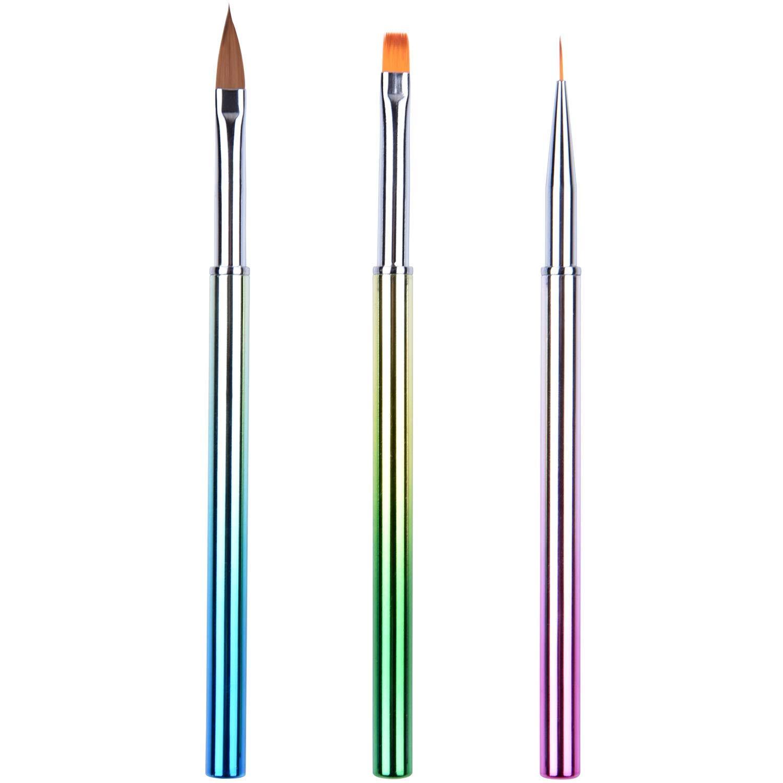 Ycyan 3Pcs Nail Art Design Brushes, Metal Handle UV Gel Acrylic Nail Brush Set Professional Nail Art Tools Kit