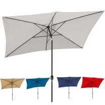 Blissun 10' Rectangular Patio Umbrella Outdoor Market Table Umbrella with Push Button Tilt and Crank (Grey)
