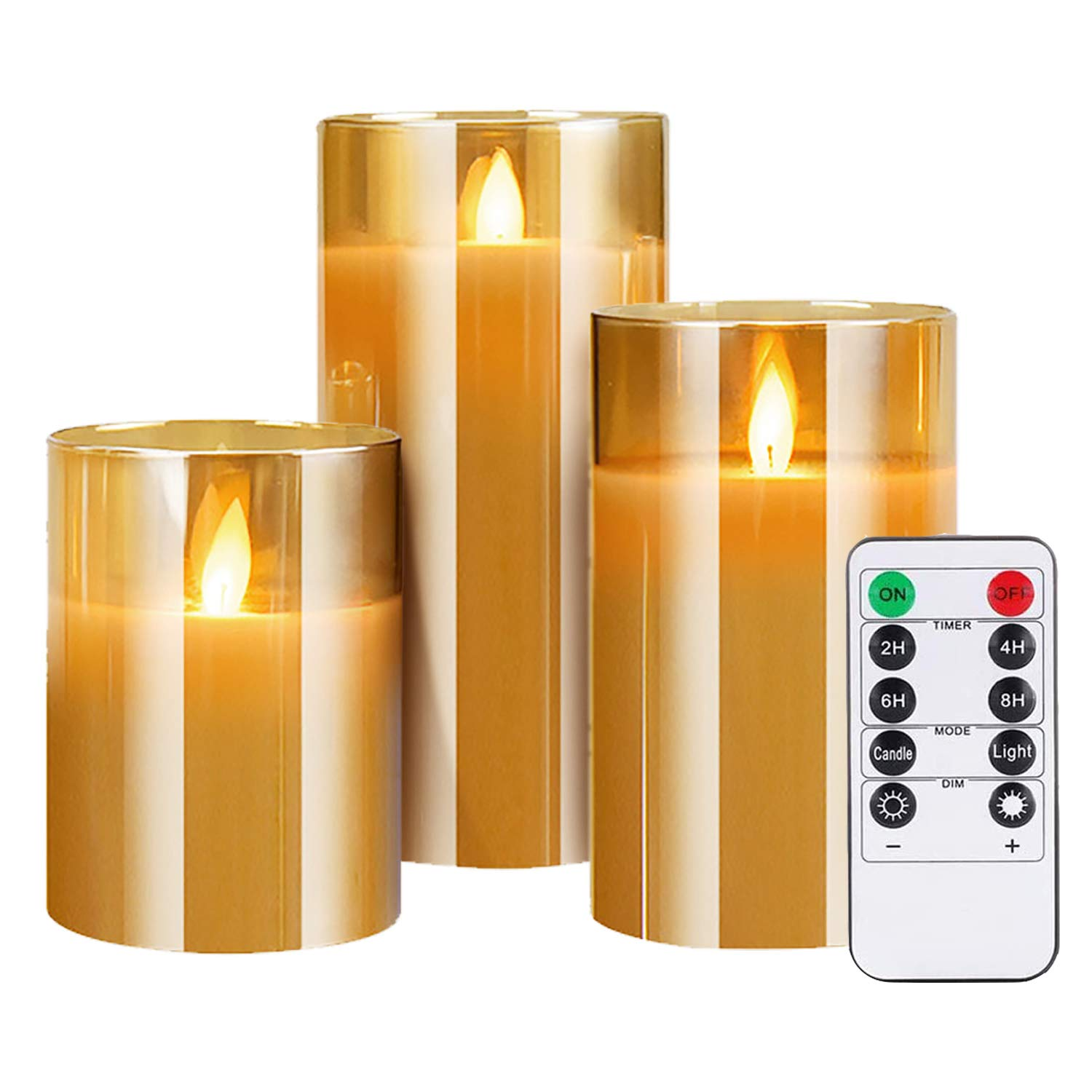 """Flameless LED Candles Flickering with Timer Remote, Gold Glass Battery Operated Electric Candles, Real Wax Pillar Candles for Festival Party Home Decor, 4"""" 5"""" 6"""" Set of 3"""
