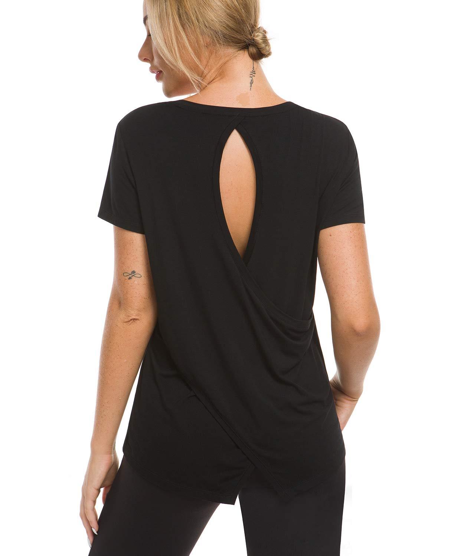 Balleay Art Women's Backless Cross Back Workout Tops Activewear Short-Sleeve Yoga T-Shirt