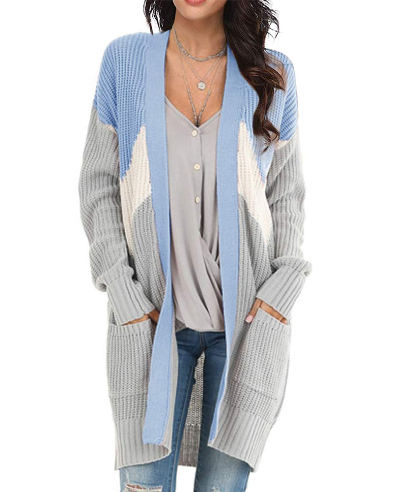 Tutorutor Womens Boho Colorblock Long Cardigan Sweaters Oversized Open Front Striped Kimono Coat with Pocket