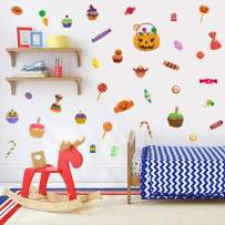 IARTTOP Thanksgiving Halloween Party Supplies Wall Decal, Funny Pumpkin Candy Cupcake Wall Sticker for Kids Room Nursery Wall Art Decor, Lovely Colorful Window Clings Decoration