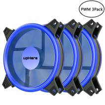 upHere Blue Computer Case Fan 120mm LED Silent Fan for Computer Cases,PWM Fans,CPU Coolers, and Radiators Ultra Quiet, Premium Edition,4 Pin 3 Pack/B12CM4-3