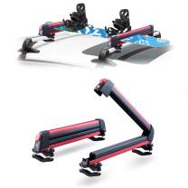 LEADRACKS Ski & Snowboard Racks for Car Roof, Fit 4 Pairs Skis Or 2 Snowboard Resistant to -60°C, 2 Pcs Aviation Aluminum Universal Snowboard Roof Rack Lockable Fit Most Vehicle Crossbars Ride Quietly