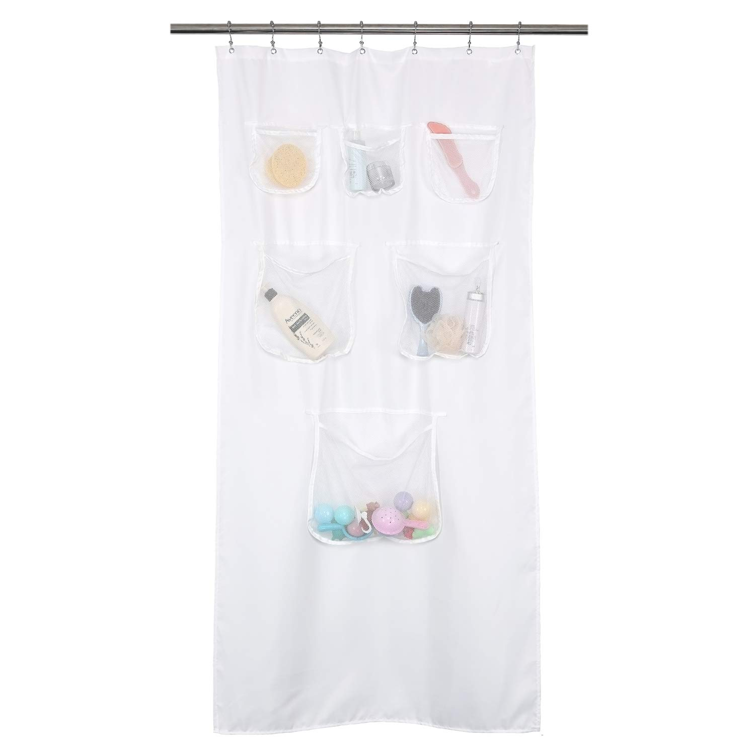 Mrs Awesome Fabric Stall Shower Curtain or Liner with 6 Mesh Pocket - 36 x 72 inch, Water Repellent, Odorless, Washable and Rust Proof Grommets