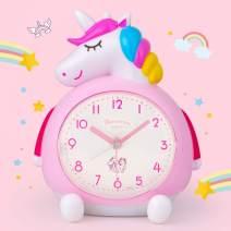 BEW Unicorn Alarm Clock for Kids, Loud Music Ringtones Snooze Alarm Clock with Backlight, Battery Operated & Easy to Set Alarm Clocks for Girls Bedroom, Bedside, Desk (Pink)