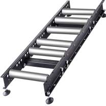 """VEVOR Gravity Conveyor with 1.5'' Galvanized Steel Rollers on 6"""" Roller Centers, Gravity Roller Conveyor 3' Long x 14'' Wide, Conveyor Rollers w/Adjustable Rubber Feet for Handling, Conveying"""