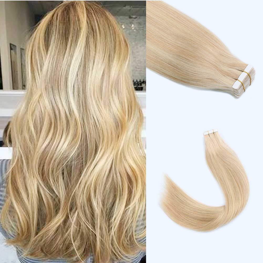 """Lovrio 18"""" 20pcs 50g Tape in Hair Extensions Colorful Piano Color Ash Blonde Highlight with Bleach Blonde Adhesive Double Sided Skin Weft"""