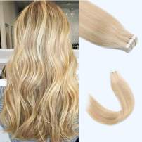 "Lovrio 20"" 20pcs 50g Tape in Hair Extensions Human Hair Piano Color Ash Blonde Highlight Color Bleach Blonde Silky Straight Hair Skin Weft"