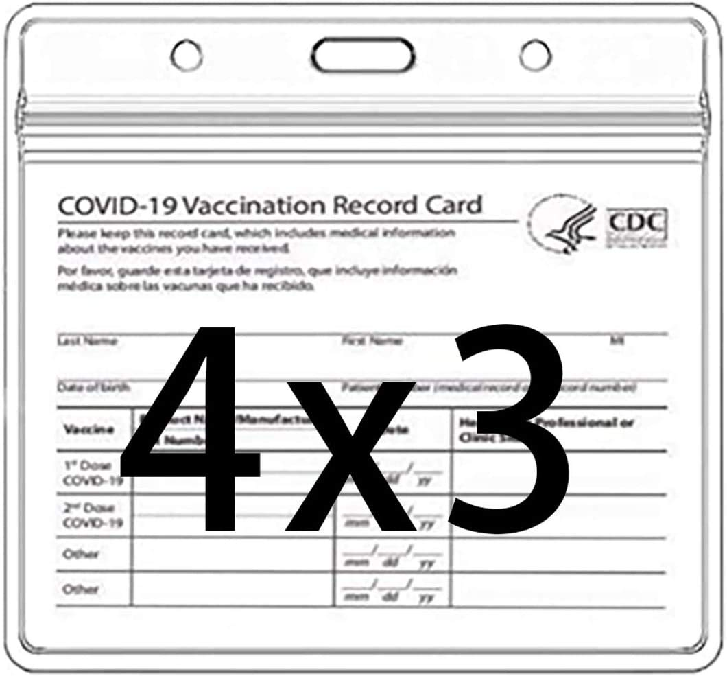 AIBUYTA 30 pcs CDC Vaccination Card Protector 4 X 3 Inches Immunization Record Vaccine Cards Tag Badge Cards Holder Clear Vinyl Plastic Sleeve with Waterproof Type Resealable Zip