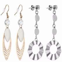 Fashion Rose Gold Dangle Earrings Statement Drop Silver Earrings 2 Pairs