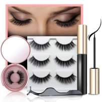 Magnetic Eyelashes With Eyeliner Kit With Reusable Hand-made Faux Lashes Natural Look 3 Pairs Pack Magnetic Eyeliner Kit With Metal Tweezer And Wispies Eyelash For Women Eye Makeup