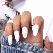 Drecode Fashion Matte Fake Nails White Full Cover Aryclic False Nail Tips Daily Party Date Clip Press On Nails for Women and Girls(24Pcs) (White)