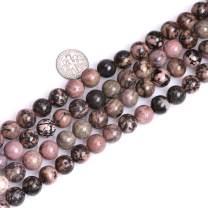 "JOE FOREMAN Round Rhodonite Beads for Jewelry Making Natural Gemstone Semi Precious 10mm 15"""