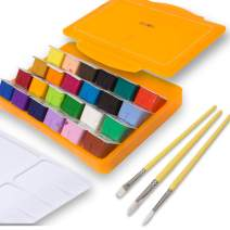 Miya Gouache Paint Set, 24 Colors x 30ml Unique Jelly Cup Design with 3 Paint Brushes in a Carrying Case Perfect for Artists, Students, Gouache Opaque Watercolor Painting (Yellow)