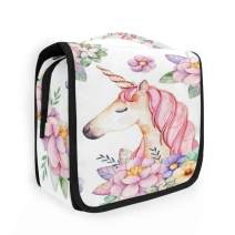 CaTaKu Tropical Unicorn Flower Cosmetic Bag Toiletry Bag Multifunction Bag Cosmetic Portable Makeup Waterproof Travel Hanging Organizer Bag for Men & Women