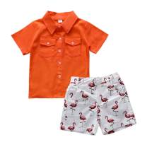 Toddler Baby Boy Summer Clothes Button-Down Animal Short Sleeve Shirt + Casual Shorts Set Gentlemen Outfits 1-6 Years