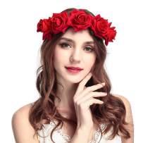 Fstrend Rose Flower Crown Wedding Bridal Flower Wreath Headband Red Hair Garland Bride Wedding Headpiece for Women and Girls
