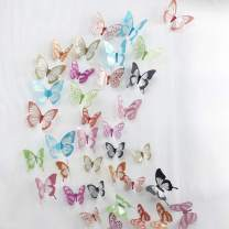 V-Time 36 PCS 3D Colorful Crystal Butterfly Wall Stickers with Adhesive Art Decal Satin Paper Butterflies Baby Kids Bedroom Home DIY Decor Removable Sticker (Colorful 2)