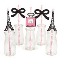 Paris, Ooh La La - Paris Themed Paper Straw Decor - Baby Shower or Birthday Party Striped Decorative Straws - Set of 24