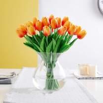SHINE-CO LIGHTING PU Real Touch Tulips Artificial Flowers 10 Pcs Flowers Arrangement Bouquet for Home Office Wedding Decoration (Orange)
