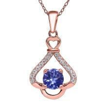 Gem Stone King 0.98 Ct Round Blue Tanzanite AAA 18K Rose Gold Plated Silver Pendant