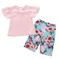 bilison Baby Clothing Kids Summer Clothes Girls Solid Color Ruffle Sleeve Top + Floral Pants Children Outfit Set
