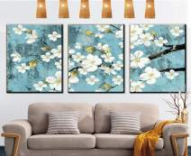 """MADE4U [ 3 Pieces Split Series Flowers ] [ 20"""" x 3 ] [ Wood Framed ] Paint by Numbers Kit with Brushes and Paints (Flower YCGP088)"""