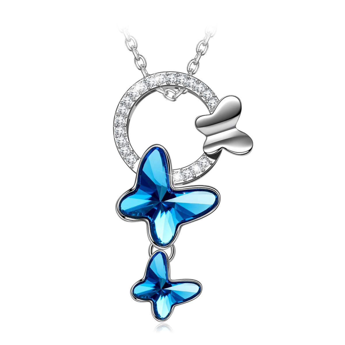 PAULINE&MORGEN ✦ Butterfly Dream ✦ Mother's Day Necklace Gifts for Her Women Butterfly Pendant Necklace for Women with Denim Blue Crystal from Swarovski Hypoallergenic