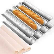 """2 Pack Nonstick Perforated Baguette Pan 15"""" x 13"""" Carbon Steel French Bread Baking Pan with Proofing Cloth 4 Wave Loaves Loaf Mold for Oven Toast Cooking"""