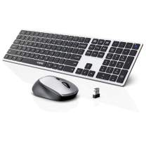 Wireless Keyboard and Mouse Combo, WisFox 2.4G Full-Size Slim Thin Wireless Keyboard Mouse for Windows, Computer, Desktop, PC, Laptop Mac (Sliver and White)