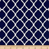 Santee Print Works Quatrefoil Navy/White Fabric By The Yard