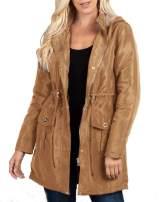 Niitawm Womens Hooded Parka Jackets Zip Up Drawstring Waist Waterproof Winter Warm Faux Fur Rain Coats Trim