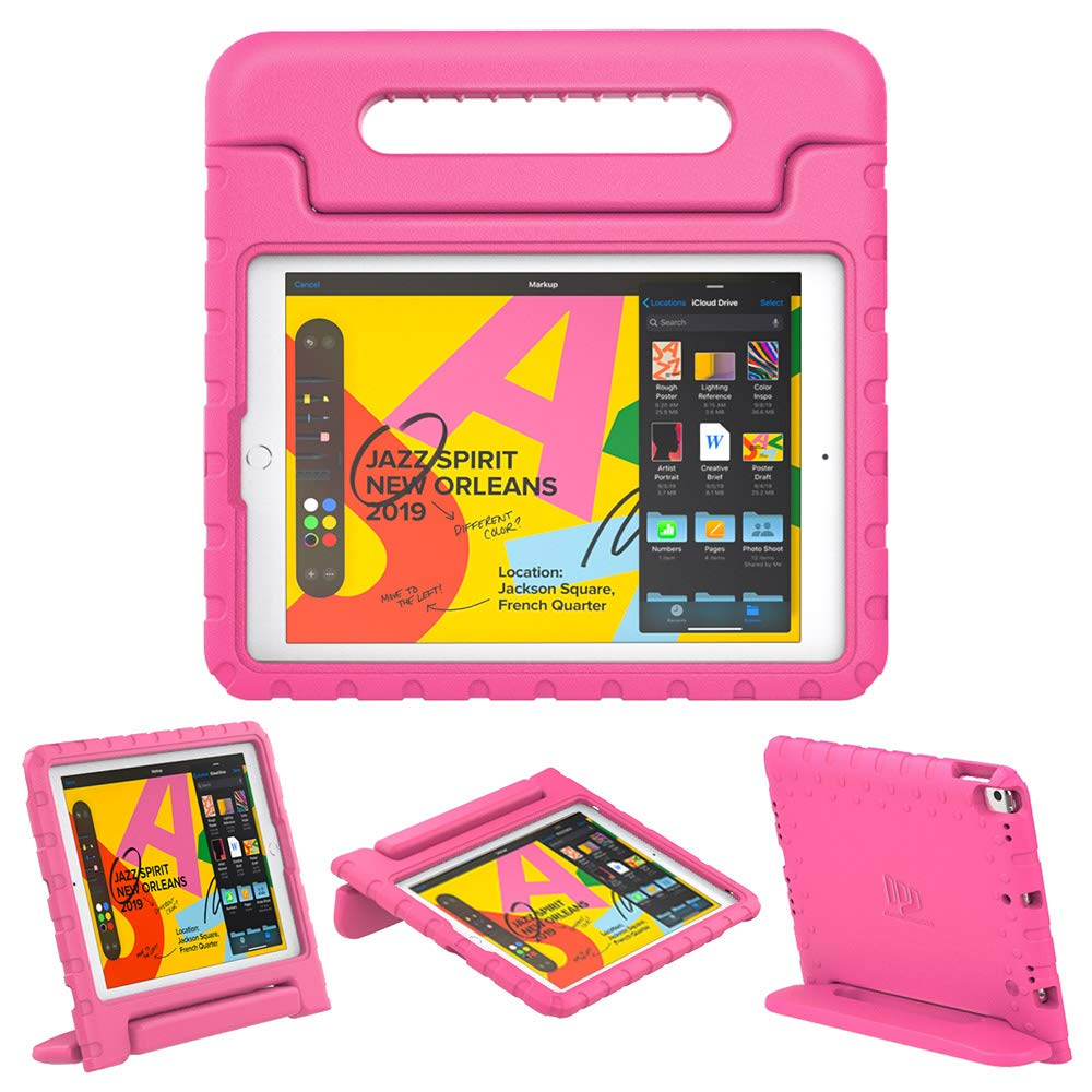 """Dadanism Kids Case Fit New iPad 10.2 2019 (7th Generation)/iPad Air 3/Pro 10.5"""" Tablet, Lightweight Shockproof EVA Kids-Friendly Protective Convertible Stand Cover with Handle - Magenta"""