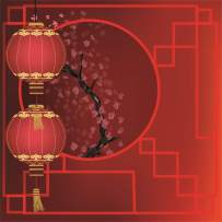 AOFOTO 10X10ft Chinese Style New Year Backdrop Red Lantern Ancient Pane Plum Blossom Wintersweet Photography Background Best Wishes Greet Spring Family Reunion Festival Celebration Background