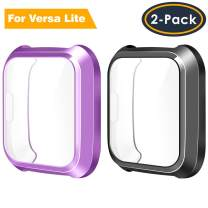 QIBOX Screen Protector Case Compatible with Versa Lite, 2-Pack TPU Rugged Bumper Case Cover All-Around Protective Plated Bumper Shell Versa Smartwatch