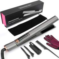 Hair Straightener and Curler 2 in 1, MANLI Professional Ionic Flat Iron for Hair Styling with Adjustable Temperature, 3D Floating Ceramic Titanium Plate Straightening Curling Iron with LCD Display