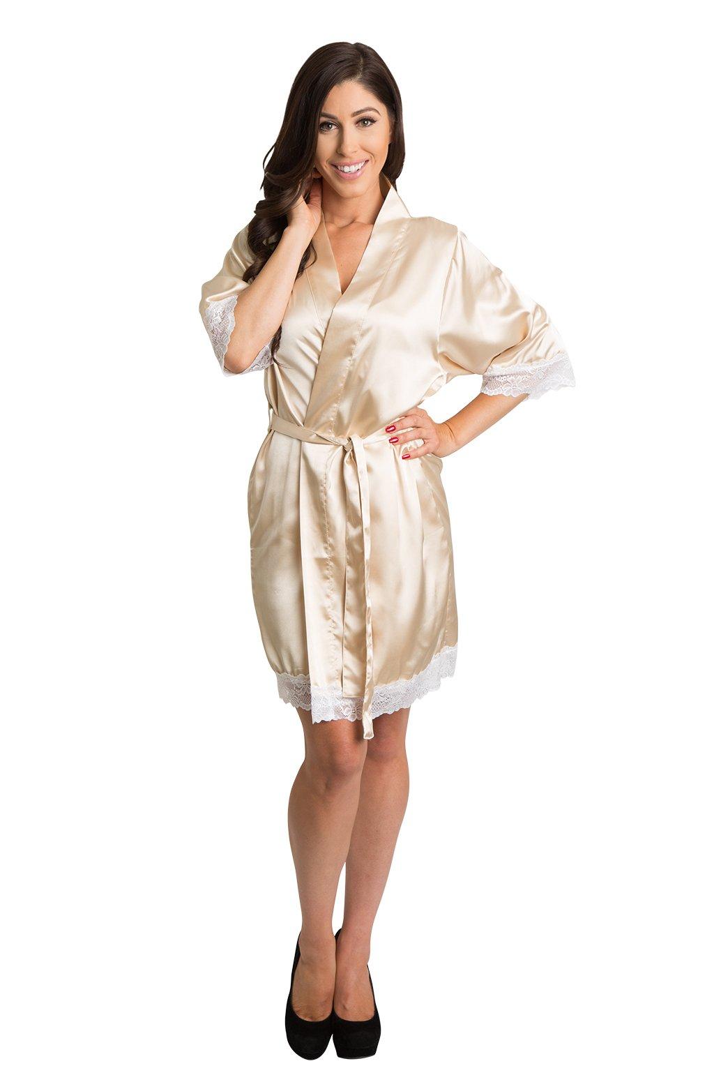 Zynotti Women's Lace Trim Bridal Kimono Wedding Satin Robe for Bride Bridesmaid and Maid of Honor
