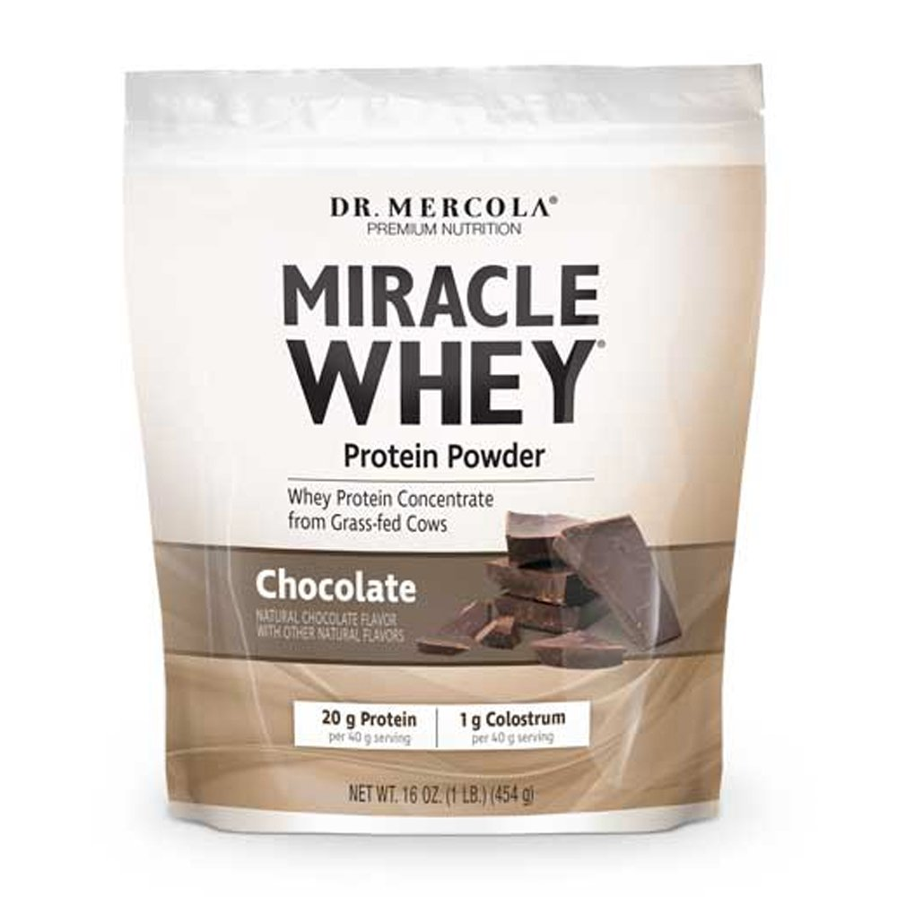 Dr. Mercola, Miracle Whey Chocolate Protein Powder, 16 oz (1 LB.), BCAA, Natural Sweeteners Only, Non GMO, Soy Free, Gluten Free