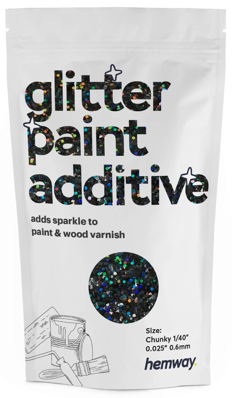 """Hemway Glitter Paint Additive Chunky 1/40"""" 0.6mm Emulsion/Acrylic Water Based Paints Wall Ceiling 100g / 3.5oz (Black Holographic)"""