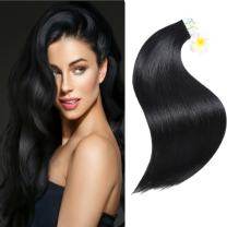 SUYYA Tape in Hair Extensions Remy Human Hair 18 inches 50g/pack 20pcs Straight Seamless Skin Weft Tape Hair Extensions (18 inches Color 1 Jet Black)